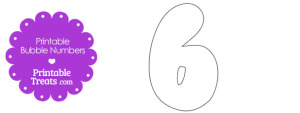 Printable Bubble Number 6