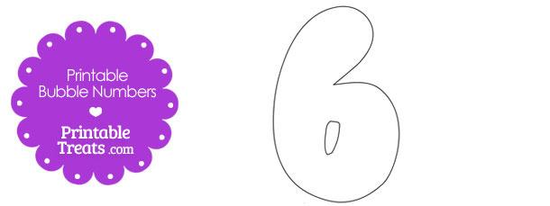 Printable Bubble Number 6 — Printable Treats