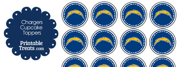 Printable Chargers Logo Cupcake Toppers