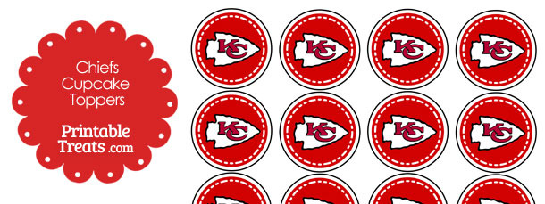 Printable Chiefs Logo Cupcake Toppers