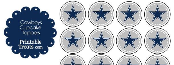 Printable Cowboys Logo Cupcake Toppers