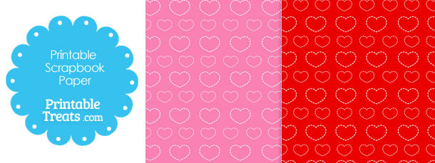 Printable Dashed Hearts Valentines Day Paper from PrintableTreats.com