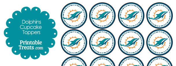 Printable Dolphins Logo Cupcake Toppers