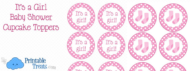Free Printable Girl Baby Cupcake Toppers