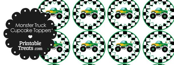 Printable Green Monster Truck Cupcake Toppers