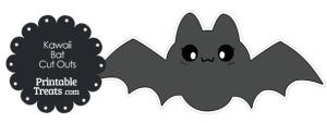 Printable Grey Kawaii Bat Cut Outs