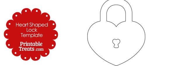 Printable Heart Shaped Lock Template