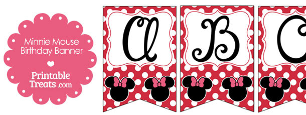 Printable Minnie Mouse Happy Birthday Banner Letters A M Printable Treats Com