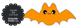 Printable Orange Kawaii Bat Cut Outs