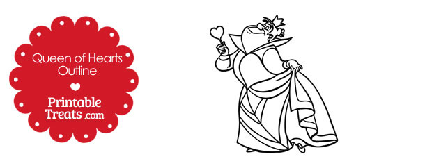 Printable Queen of Hearts Outline — Printable Treats.com