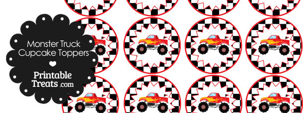 Printable Red Monster Truck Cupcake Toppers