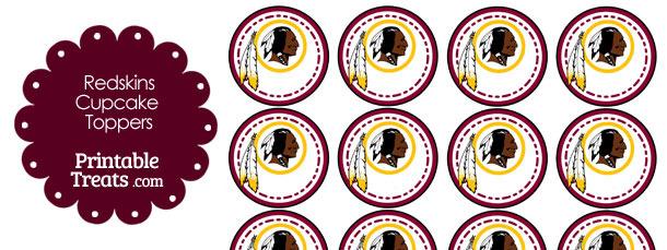 Printable Redskins Logo Cupcake Toppers