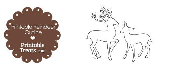 Printable Reindeer Couple Outline