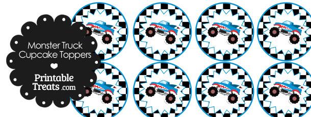 Printable Shark Monster Truck Cupcake Toppers