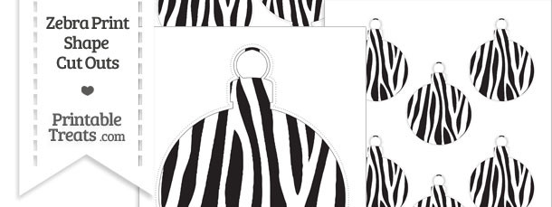 Printable Zebra Print Christmas Ornament Cut Outs