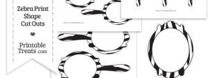 Printable Zebra Print Fancy Hand Mirror Cut Outs