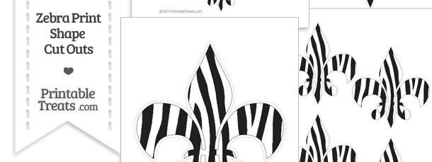 Printable Zebra Print Fleur de Lis Cut Outs