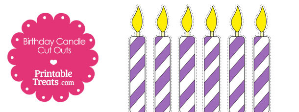 Purple and White Birthday Candle Cut Outs from PrintableTreats.com