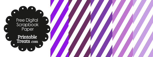 Purple and White Diagonal Striped Digital Scrapbook Paper