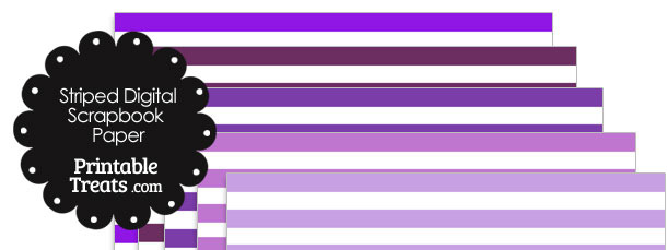 Purple and White Striped Digital Scrapbook Paper