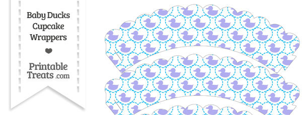 Purple Baby Ducks Scalloped Cupcake Wrappers