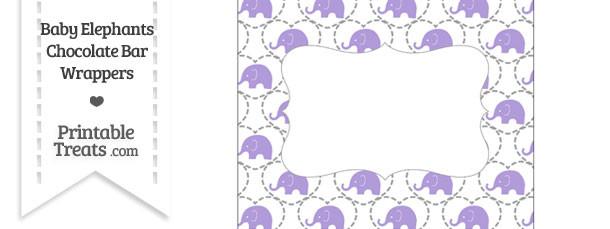 Purple Baby Elephants Chocolate Bar Wrappers