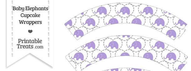 Purple Baby Elephants Cupcake Wrappers