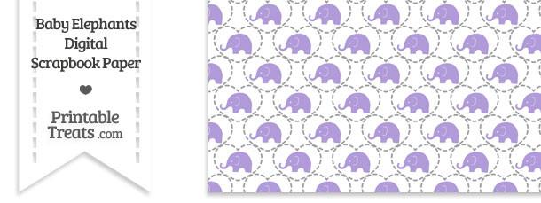 Purple Baby Elephants Digital Scrapbook Paper