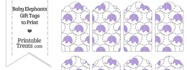 Purple Baby Elephants Gift Tags