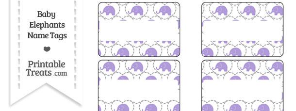 Purple Baby Elephants Name Tags