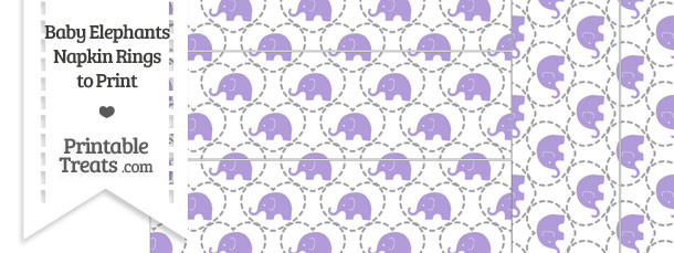 Purple Baby Elephants Napkin Rings