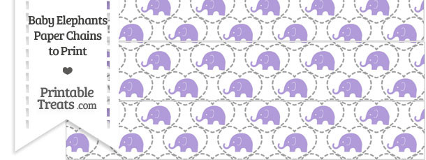 Purple Baby Elephants Paper Chains