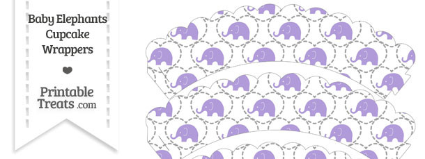 Purple Baby Elephants Scalloped Cupcake Wrappers