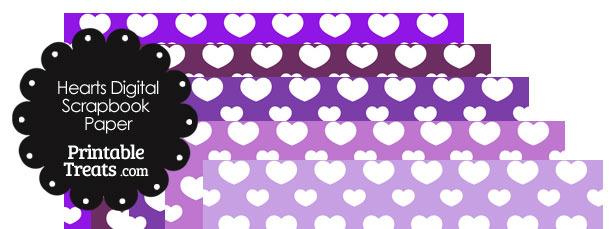 Purple Background Heart Digital Scrapbook Paper