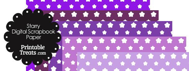 Purple Background Star Digital Scrapbook Paper
