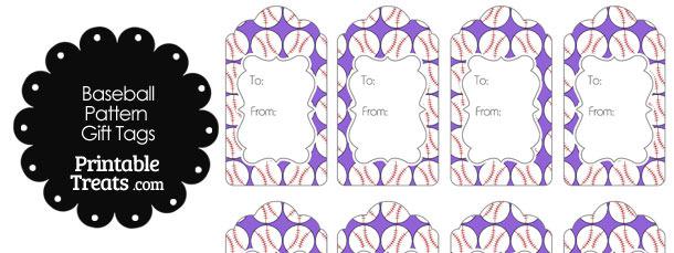 Purple Baseball Pattern Gift Tags
