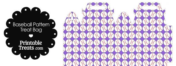 Purple Baseball Pattern Treat Bag
