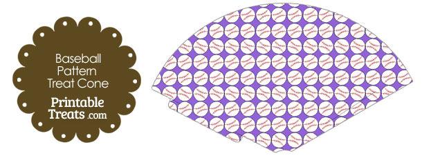 Purple Baseball Pattern Treat Cone