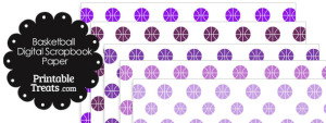 Purple Basketball Digital Scrapbook Paper