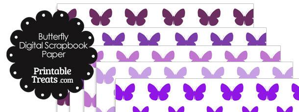 Purple Butterfly Digital Scrapbook Paper