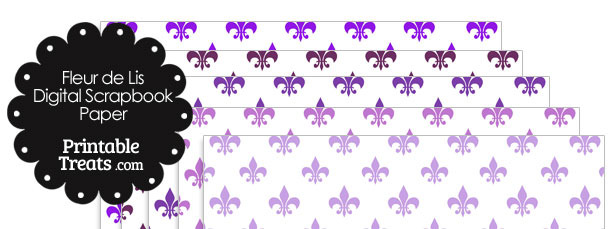 Purple Fleur de Lis Digital Scrapbook Paper