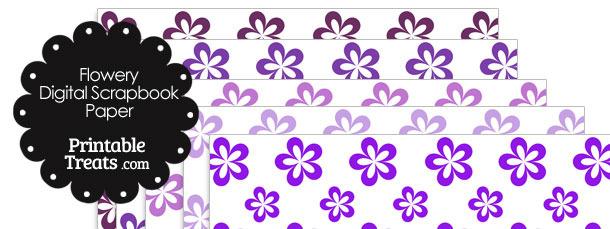 Purple Flower Digital Scrapbook Paper