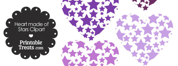Purple Heart Made of Stars Clipart