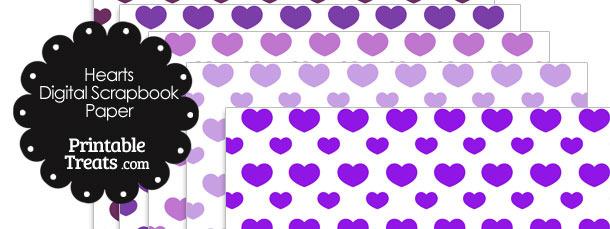 Purple Hearts Digital Scrapbook Paper