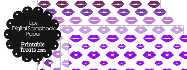 Purple Lips Digital Scrapbook Paper