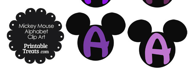 Purple Mickey Mouse Head Letter A Clipart