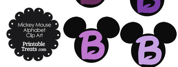 Purple Mickey Mouse Head Letter B Clipart