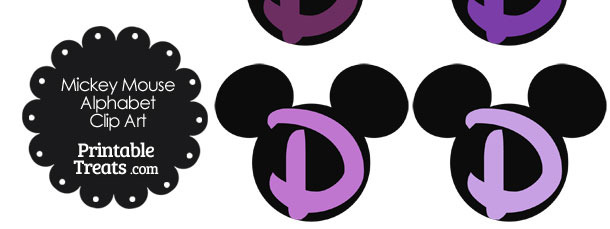 Purple Mickey Mouse Head Letter D Clipart