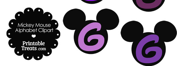 Purple Mickey Mouse Head Letter G Clipart