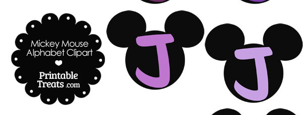 Purple Mickey Mouse Head Letter J Clipart